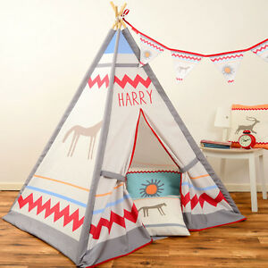 Image is loading Personalised-Children-039-s-Kids-Teepee-Wigwam-Indoor-  sc 1 st  eBay & Personalised Childrenu0027s Kids Teepee Wigwam Indoor Tipi Play Tent ...
