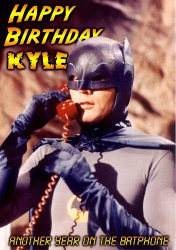ART Adam West batman batphone SPOOF PERSONNALISED HAPPY BIRTHDAY Greeting CARD