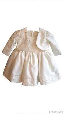 Abbigliamento Bambino Battesimo 2 Pezzo Vestito Con Bolero-