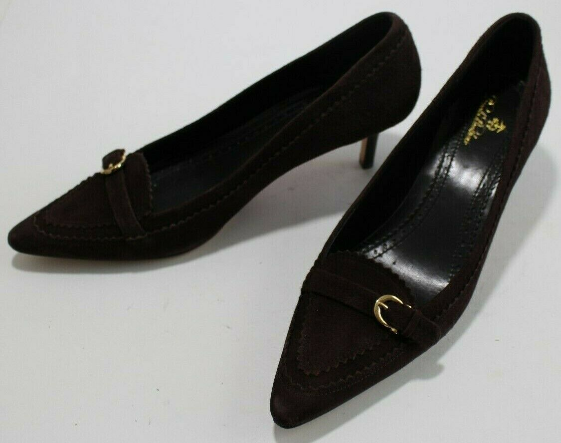 Brooks Bredhers 8 Brown Suede Pointed Toe Loafer Pumps 2.25 Heels Leather Sole