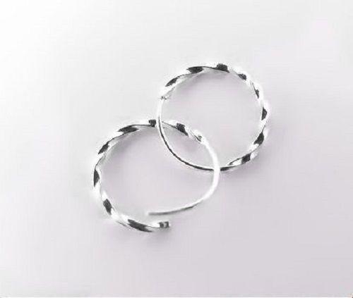 One pair of 990 Genuine Silver Twist 8mm Ear Hoop Earrings