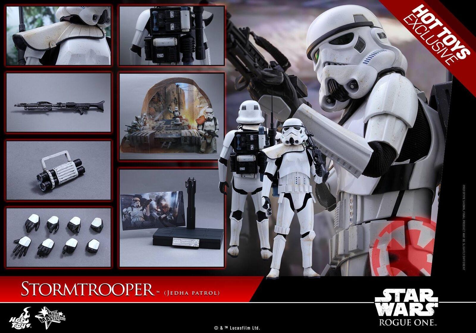 Hot Juguetes 1 6 Rogue uno una historia de la guerra de las galaxias MMS386 jedha patrulla Stormtrooper Figura