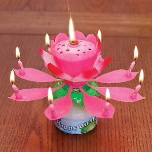 Details About Musical Lotus Flower Birthday Candle Rotates Plays Happy Birthday Random Color