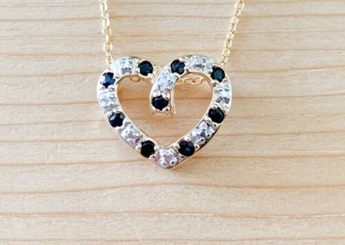 Details about  /0.27ctw GENUINE SAPPHIRE AND DIAMOND ACCENTED HEART PENDANT NECKLACE