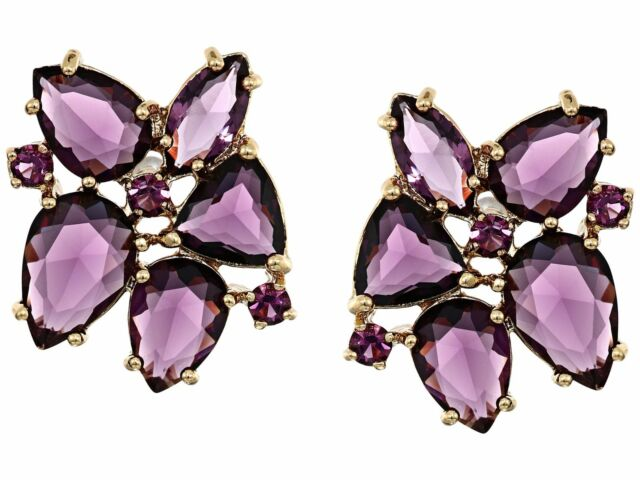 Kate Spade To The Nines Amethyst Purple Crystal Statement Earrings Nwt