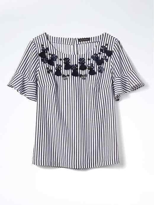 Banana Republic Embellished Flutter-Sleeve Top Weiß Striped Cotton Größe M, NWT