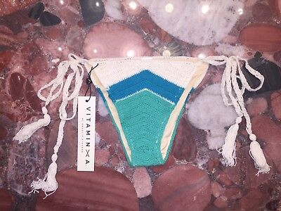 NWT Vitamin A Nightbird Crochet Knit Tie Side Swimsuit Bikini Bottom Women/'s 8 M