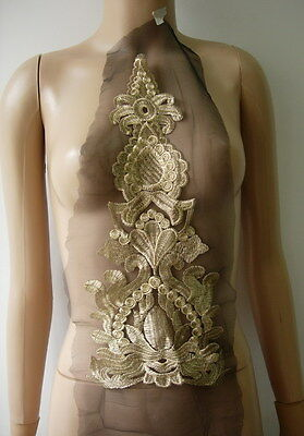 VT359 Baroque Style Floral Front Gold Trim Tulle Applique Motif Sewing//Trimming