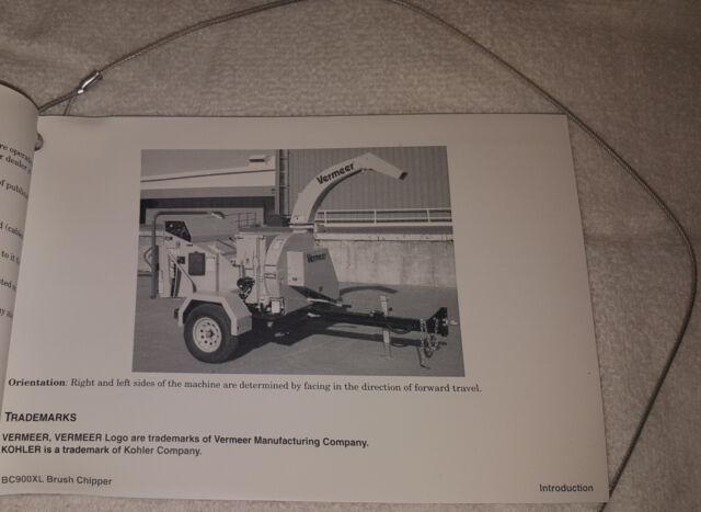 Vermeer Bc900xl Brush Chipper Operator's Manual W/ Lanyard