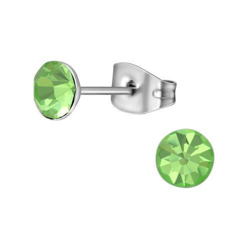 Peridoto Verde 5mm AAA Cz Cristal Acero Inoxidable Pendiente postes-Hipoalergénico