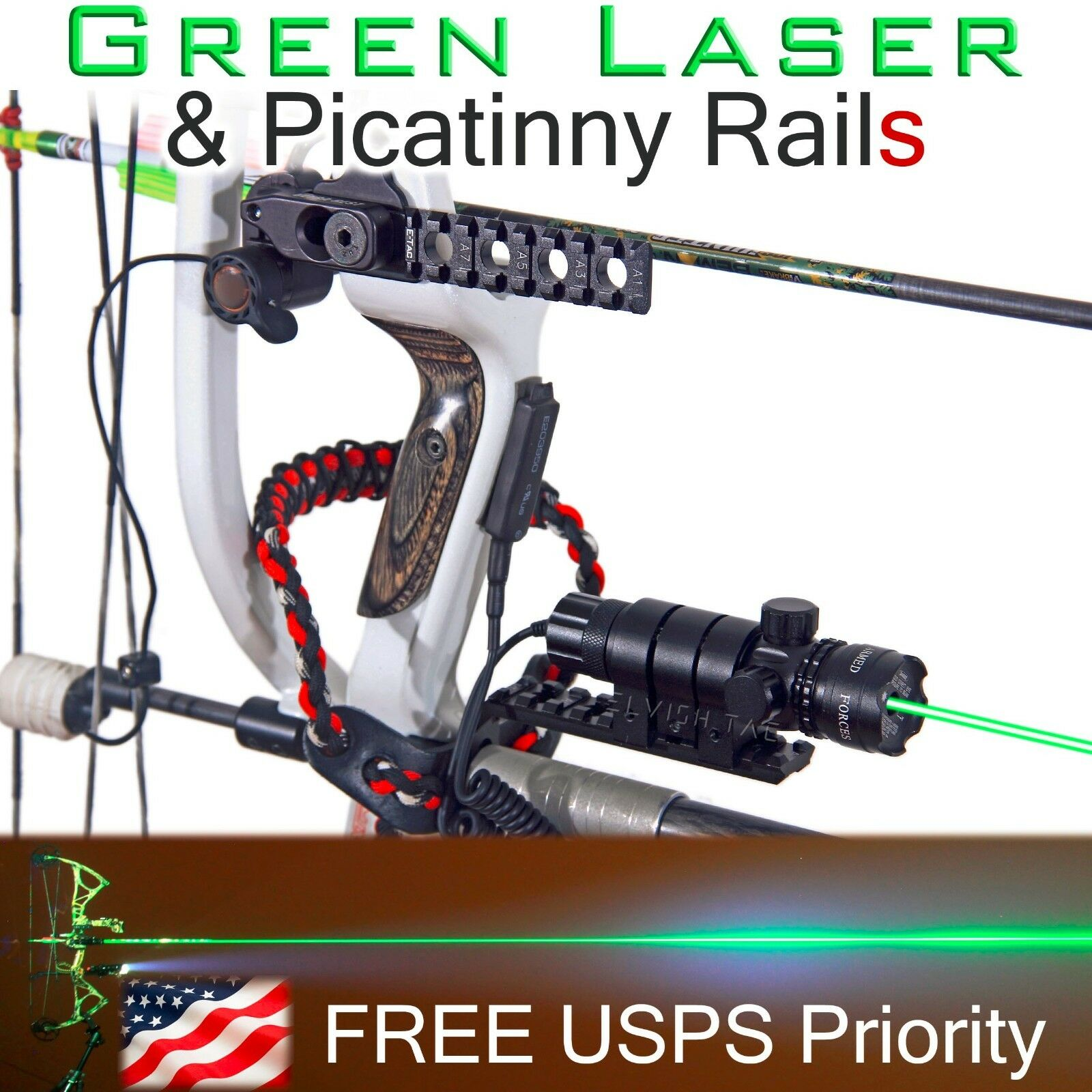 Green Laser Sight & 2X Picatinny Rails for Compound Bow Bowhunting Bowfishing