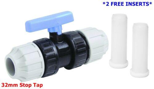 32 mm Bleu MDPE Eau Tuyau Robinet arrêt Robinet Tap Water Interrupteur principal Ball Type