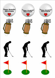 Details about NOVELTY HAPPY BIRTHDAY BROTHER GOLF GOLFER MIX STAND UP  Edible Cake Toppers