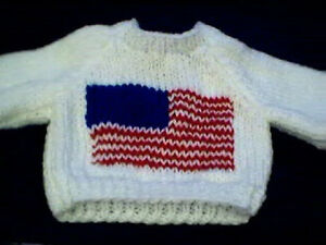American Flag Sweater Handmade for Cabbage Patch Kid Fourth of July Made in USA