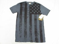 $34 Mens Akademiks T-shirt Ross Flag Print Crew Tee Blue Urban Sz S N221