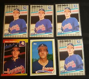 (6) John Smoltz 1989 Rookie RC Topps Fleer Donruss  Atlanta Braves Lot