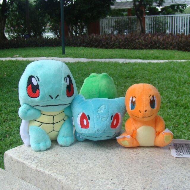 Novo Sanei Pokemon Go Bulbasaur Charmander Squirtle 3PCS Presente Brinquedo De Pelúcia