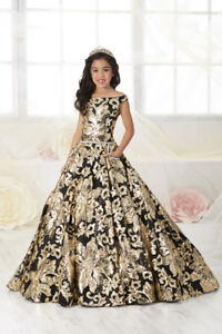 Authentic-Tiffany-Princess-13532-Gold-amp-Black-Girls-Pageant-Gown-Dress-Sz-14-NWT