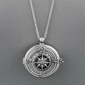 Long silver chain unique compass magnifying glass pendant necklace image is loading long silver chain unique compass magnifying glass pendant aloadofball Image collections
