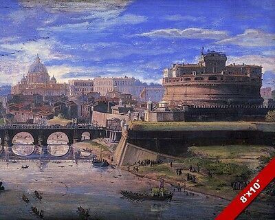 CASTEL SANT ANGELO ANCIENT ROMAN CASLTE ROME ITALY PAINTING ART REAL CANVASPRIN
