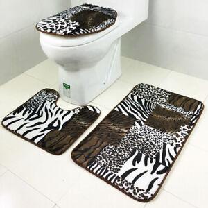 3 Piece Bathroom Set Door Mats Toilet Lid Covers Non Slip Floor Carpet Leopard
