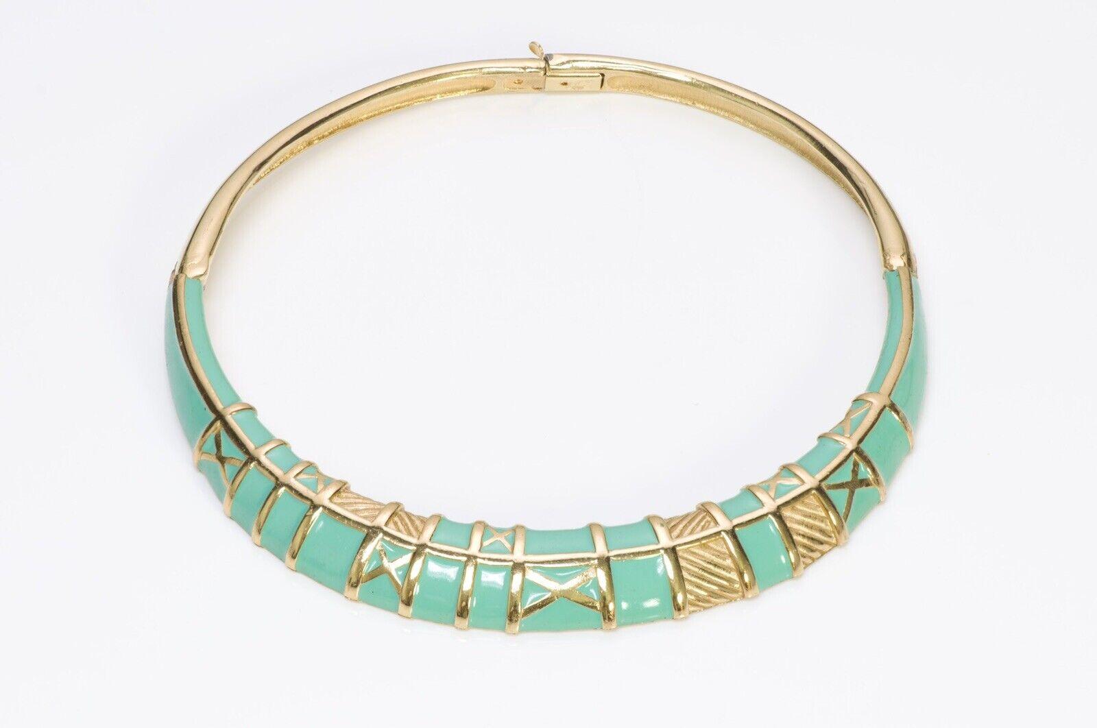 LANVIN Paris 1970's Green Enamel Choker Necklace - image 1
