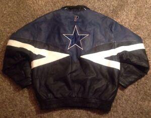 new product 37a41 4e4dd Details about Men's Rare Vintage Pro Player Dallas Cowboys Multicolor  Leather Jacket, Large