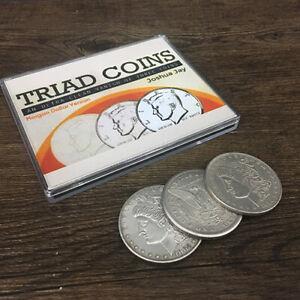 Triad-Coins-Morgan-Gimmick-by-Joshua-Jay-Coin-Magic-Tricks-Close-up-Magic-Fun
