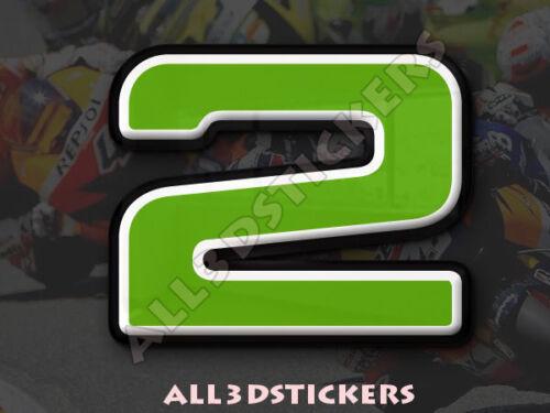 Zahlen 2 Grün 3D Kfz-Aufkleber 25 mm Höhe Auto Moto Startnummer gedomt