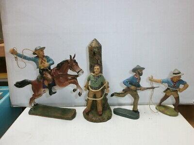 Konvolut 8 alte Elastolin Kunststoff Figuren Wildwest Cowboys Reiter zu 7.5cm