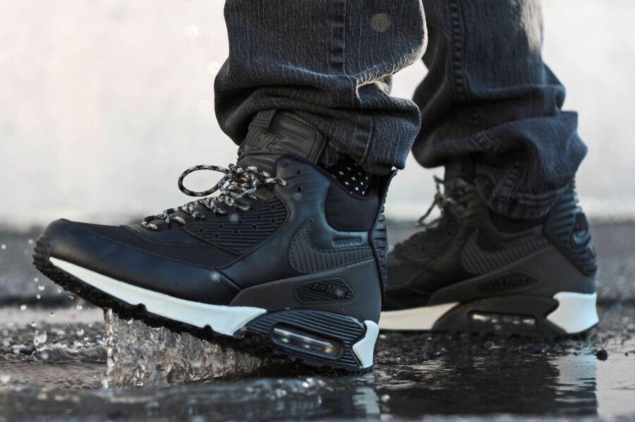 Nike Air Max 90 Sneakerboot Black Grey WaterProof Mens Shoes Sz 8.5 684714-001 Brand discount