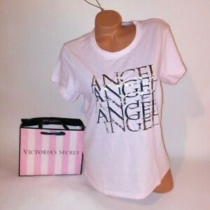 Victoria-Secret-T-Shirt-XL-VS-Logo-Angel-Light-Pink-Short-Sleeve-Tee-Womens