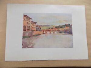 Original-1905-Antique-Book-Print-9x6-Inch-RC-Goff-Italy-Ponte-Vecchio-Florence
