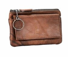Women's Genuine Leather Brown Coin Purse Change Wallet With Zipper And Key Ring