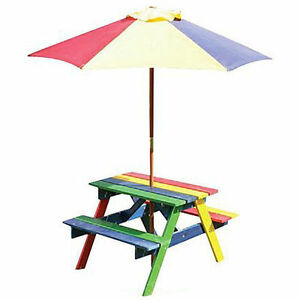 Children 39 S Rainbow Wooden Garden Picnic Table Bench Parasol Set Kids Ebay