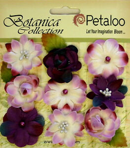 Botanica-BABY-BLOSSOMS-PURPLE-Blossoms-amp-Leaves-FABRIC-9-flowers-28-30mm-Pet-A