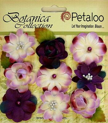 VINTAGE VELVET Mini TEAL x 9 Fabric Flowers 25-30mm Petaloo C