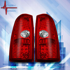 99-06 Chevy Silverado 99-03 GMC Sierra Tail Lights Chrome Red LED Lamps PAIR