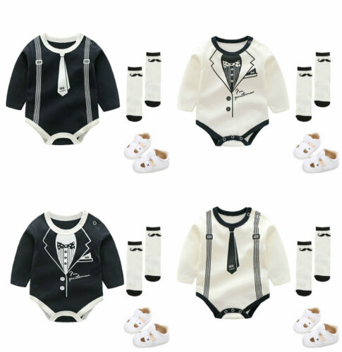Baby boys Tuxedo infant summer bodysuit wedding party outfits jumpsuit gentleman