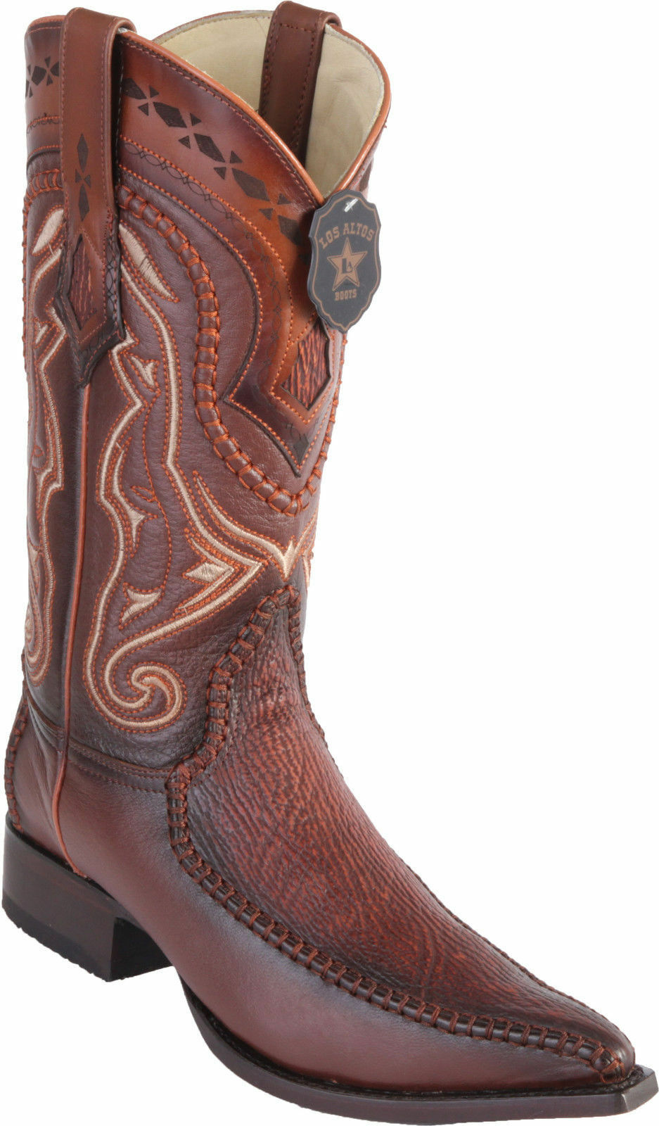 LOS ALTOS COGNAC GENUINE SHARK 3X TOE WESTERN COWBOY BOOT EE+