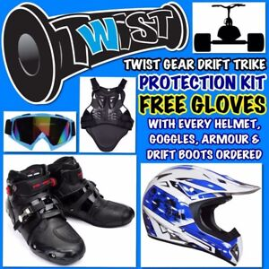 Drift-Slider-Trike-Helmet-Goggles-Armour-Boots-Free-Gloves-Blue-Adult-Xlarge