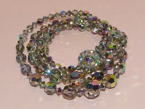 Exquisite signed vintage 1950s two-strand dark Aurora Borealis crystal necklace