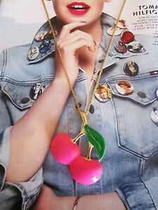 LADIES-PINK-CHERRY-LONG-NECKLACE-TEEN-QUIRKY-FRUIT-VINTAGE-RETRO-STYLE-JEWELLERY