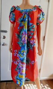 Vintage-Hawaiian-CREATIONS-Red-Blue-Tropical-Floral-Dress-sz-L-Hawaii