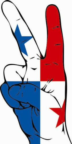 Aufkleber Peace-Finger Panama Flagge Fahne  Autoaufkleber Sticker
