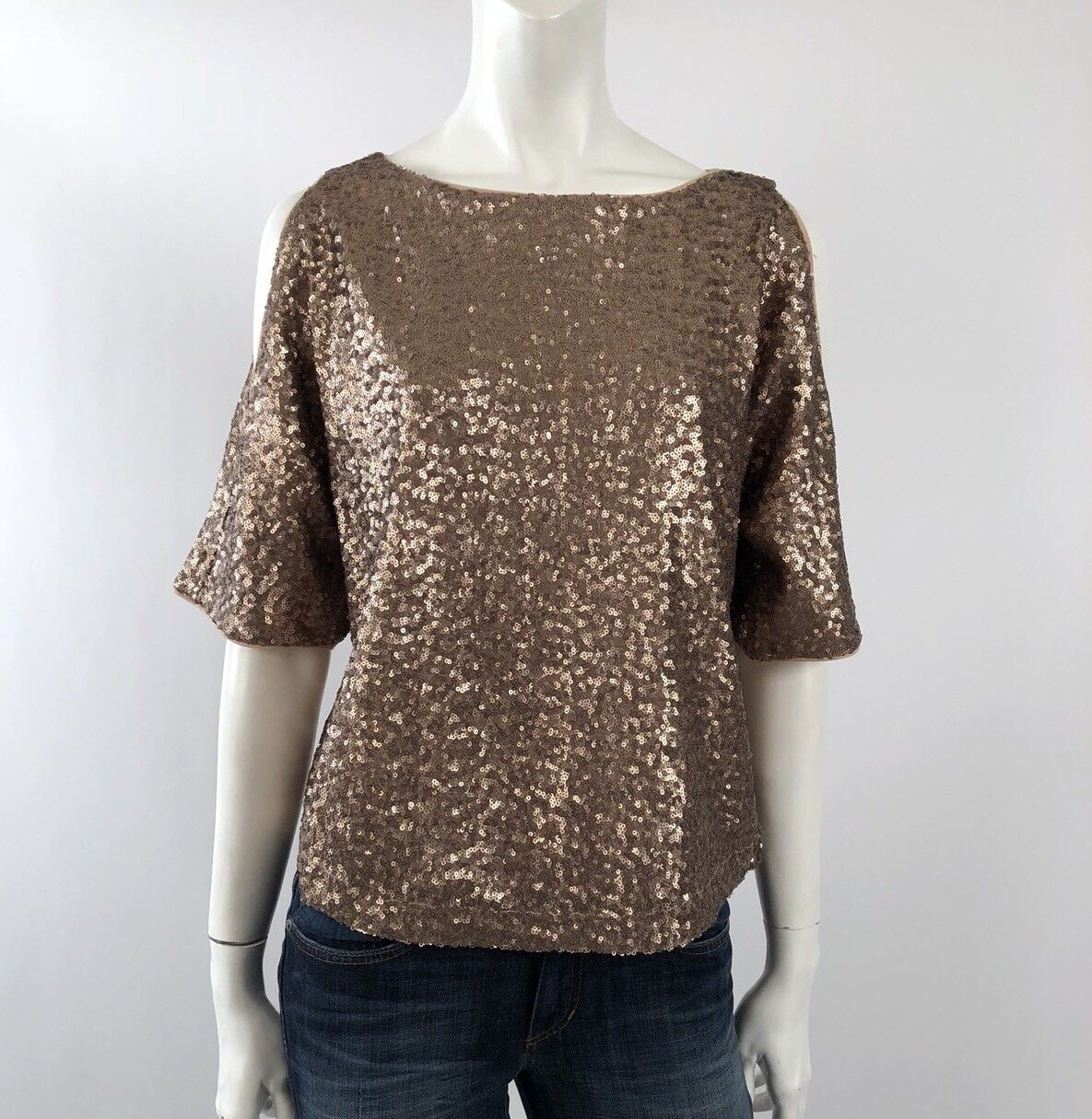 Splendid NWT  XS Anthropologie Short Sleeve Sequin Top Blouse Open Shoulder