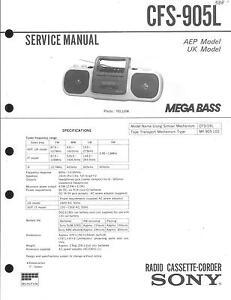 Modestil Sony Original Service Manual Für Cfs-905 L Ein BrüLlender Handel Anleitungen & Schaltbilder