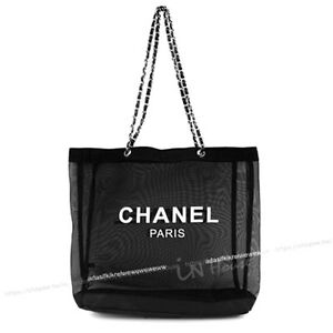 CHANEL-VIP-Black-Mesh-Tote-Bag-Shopping-Travel-Shopper-Leather-Chain-Silver