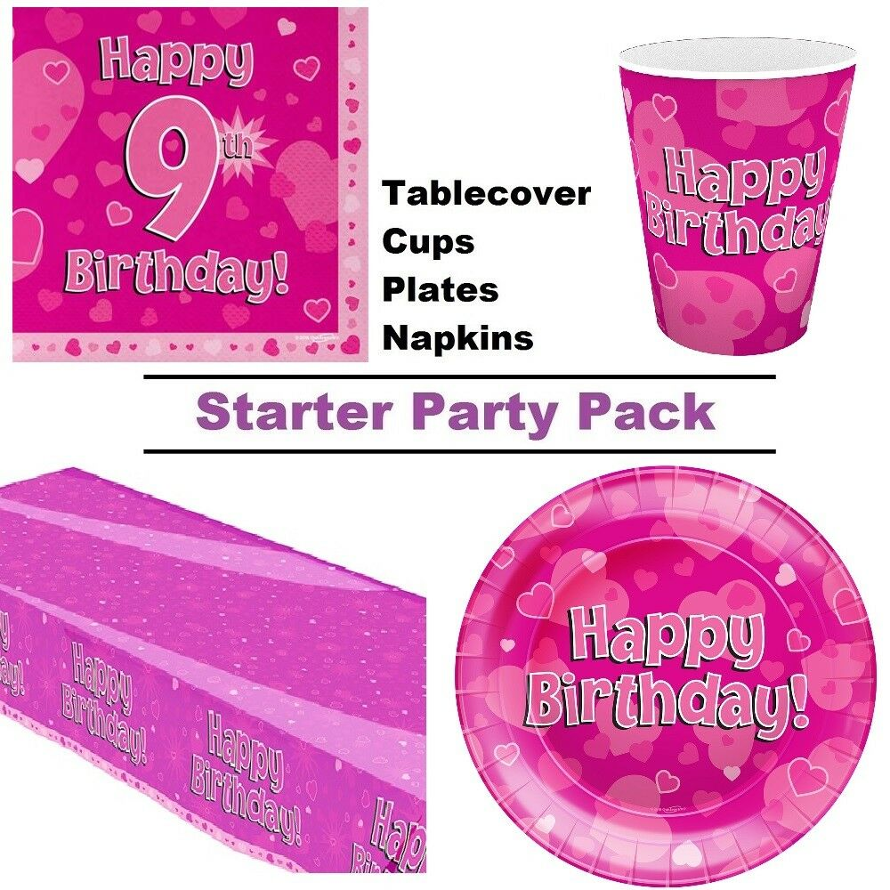 Froh 9ter 9ter 9ter Geburtstag Rosa Herzen 8-48 Gäste Party Starterpaket Tasse Teller | Qualitätsprodukte  | Zuverlässige Leistung  30830c