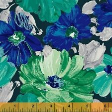 Finger Painted Floral Print Blue Windham premium 100% cotton fabric by the yard